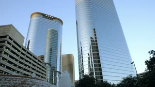 reflective downtown Houston buildings