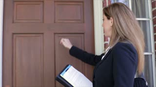Saleswoman coming to the door