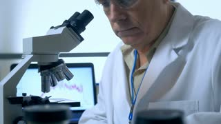 Scientist working with a microscope in laboratory 4k
