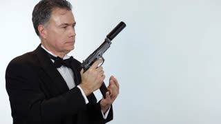 secret agent shooting at someone