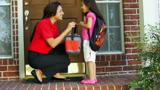 sending the child to school slow motion