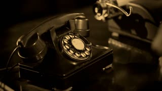 sepia dialing old phone