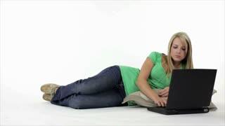 Serious Girl Working on Laptop Enter Dog