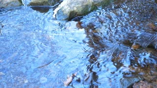 sky reflecting in a small stream