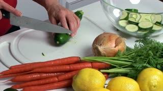 slicing vegetables
