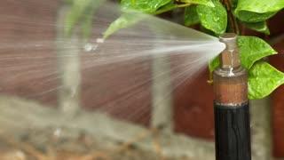 slow motion macro of a yard sprinkler head