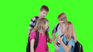 smiling school kids on green screen