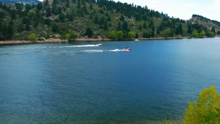 speed boats on Horsetooth Reservoir colorado 4k.
