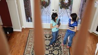 teenagers talking downstairs