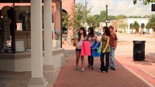 teens walking and shopping