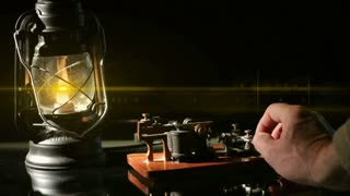 telegrapher sending messages by lantern light