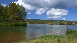 The shore of a beautiful lake.