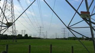 tilt from Transmission Tower to high tension power lines 4k