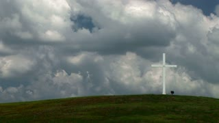 timelapse Christian cross on a hill