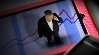 tiny businessman standing on a tablet pc with graph