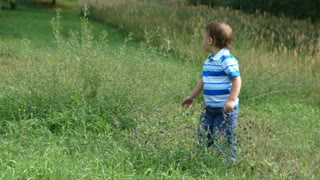 toddler standing in wildflowers.
