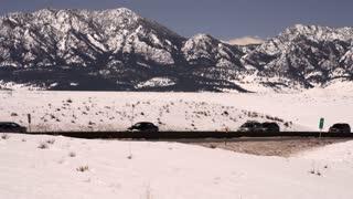 Traffic on a snowy mountiain