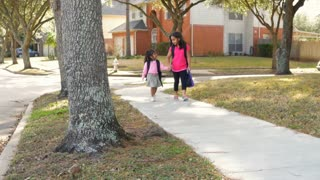 Two cute Indian children walking to school
