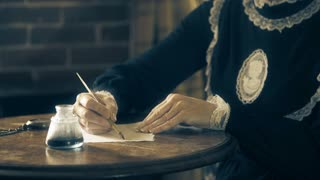Victorian era woman writing with a dip pen 4k