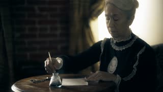 Victorian era woman writing with a dip pen wide shot 4k