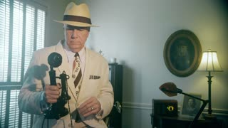1920s businessman using a candlestick phone