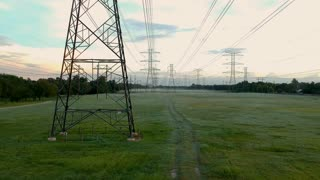 Aerial Dolly Right High Tension Power Lines