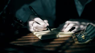 businessman in 1930 writing in a ledger 4k