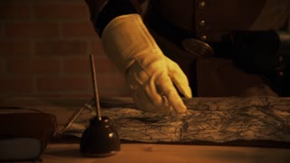 civil war officer looking at the battle map 4k