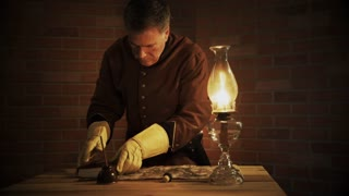Civil War Officer Looking At The Battle Map K Stock Video Footage - Rustic map of the us in the civil war