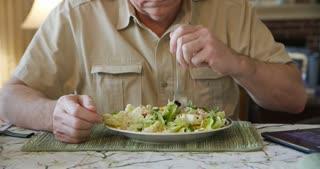Close Shot Man Eating A Healthy Salad