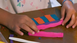 Closeup Little Girl Playing With Colored Modeling Dough 4 K