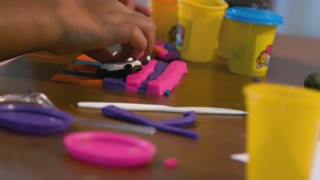 Closeup Of Girls Hands Playing With Colored Modeling Dough 4 K