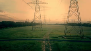 Early Morning Aerial View Of High Tension Power Lines