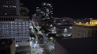 Establishing shot of downtown New Orleans at night 4k