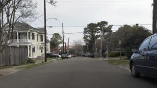 establishing shot of typical New Orleans neighborhood 4k