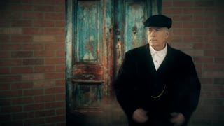 gangster from 1920s standing outside a building 4k