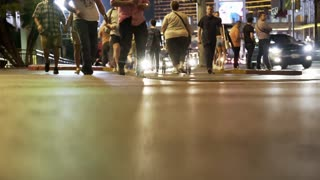 Las Vegas Nevada April 26 2017 Low Angle Of People Walking On The Sidewalk 4 K
