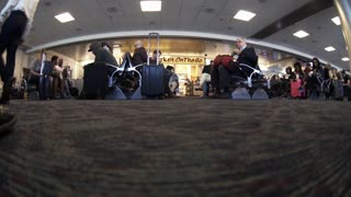 Las Vegas Nevada April 27 2017 Fisheye View Of People Waiting In Mc Carran Airport 4 K