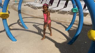Little Girl Playing At A Water Park 4 K