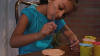 Little Girl Playing With Modeling Clay 4 K