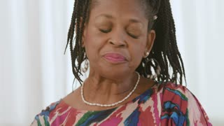 Lovely African American Lady Tells Story And Laughs