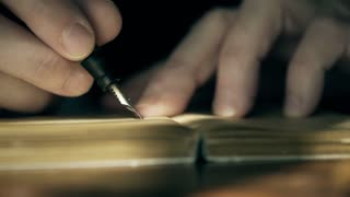 macro 1930s businessman writing in a ledger 4k