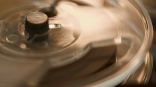 Macro Tape Reel Spinning On A Vintage Audio Recorder 4 K