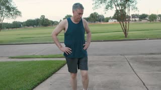 Man feels good about less pain warms up for a jog 4K