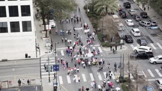 New Orleans LA circa Jan 20, 2018 womans march rooftop view on Poydras st