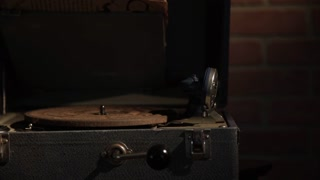 Placing A Record On A Vintage Crank Phonograph 4 K