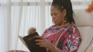 Quiet Time Spent Reading Holy Bible African American Woman