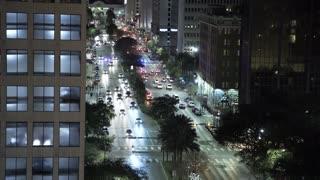 Roof Night establishing shot of downtown New Orleans 4k