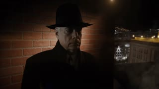 sinister looking film noir man on a rooftop 4k