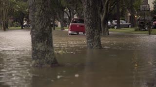 suburban neighborhood flooded after hurricane Harvey in houston texas 4k
